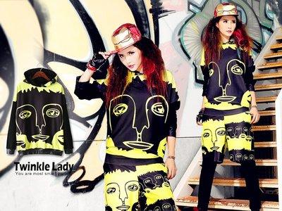 『現貨』《獨家潮牌》街頭嘻哈 男女塗鴉 中性款 連帽休閒上衣 連帽T【JA0068】- 崔可小姐