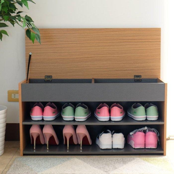 中華批發網:加寬掀蓋式收納穿鞋椅/鞋櫃/鞋架/置物櫃/收納櫃/書櫃(灰+木紋)DL-8406GN