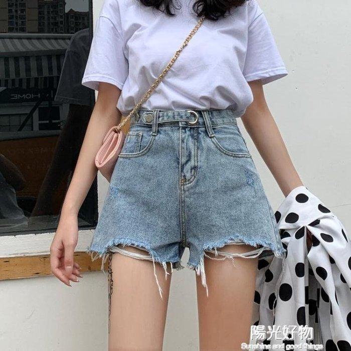 牛仔短褲女夏季新款高腰外穿寬鬆闊腿韓版顯瘦a字超短熱褲潮