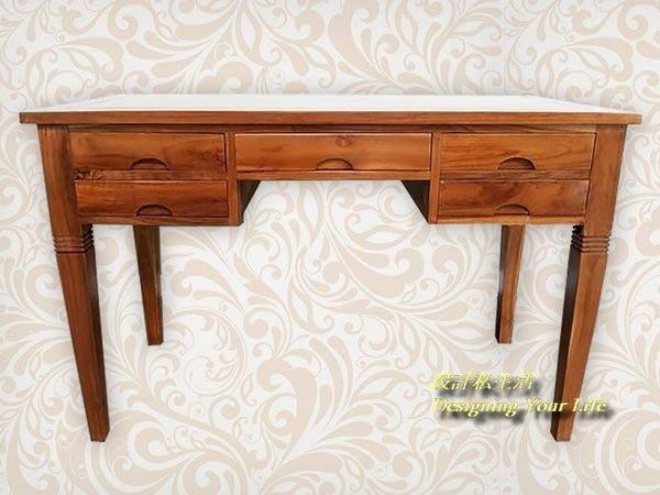 【設計私生活】柚木實木4.2尺五抽書桌、辦公桌、寫字桌(全館一律免運費)