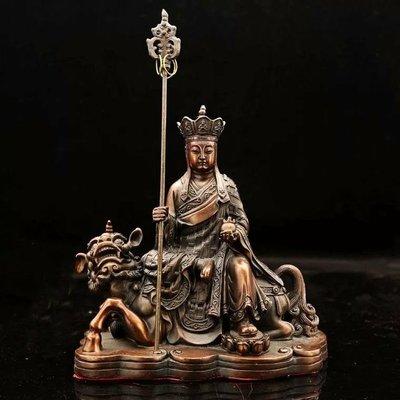 紫銅騎獸  (地藏菩薩)佛像~摧毀一切邪惡的業障,立體浮雕工藝,法相寂靜端莊,殊妙莊嚴,威嚴沉穩~靜待有緣人