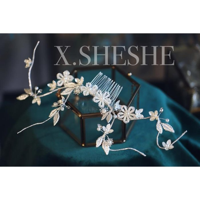 Golicc 手工精致奢華時尚仙氣唯美顏色花朵新娘頭飾髮梳盤髮造型結婚配飾
