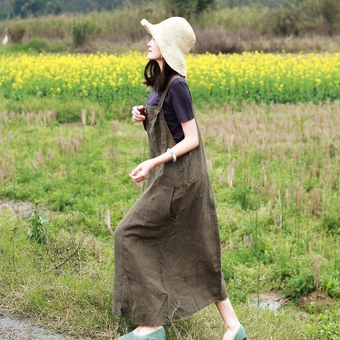 【鈷藍家】棉麻臆想 原創綠松春新品文藝亞麻連身裙寬鬆休閒拼接口袋百搭吊帶裙