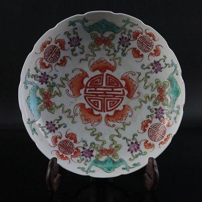 ㊣姥姥的寶藏㊣清光緒粉彩福壽紋瓷盤 古玩 古董