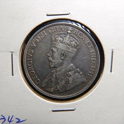英屬紐芬蘭 喬治五世 1917年 50 CENTS銀幣