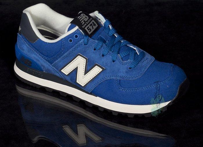 百狗體育.NEW BALANCE(nb 574PC) ML574PCB 女用復古休閒鞋 藍色 麂皮 彈道尼龍 瑪利兄弟