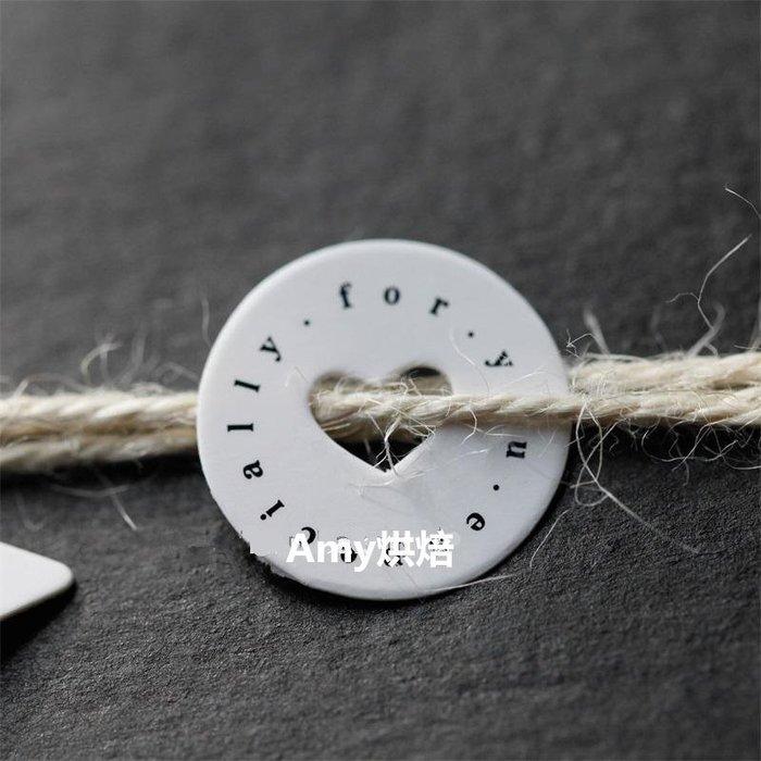 Amy烘焙網:25枚愛心包裝盒裝飾吊卡/簍空愛心禮物吊牌插牌標籤/禮盒裝飾封口吊牌