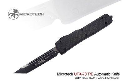 【angel 精品館 】Microtech UTX-70碳纖柄_黑TANTO平刃CTS-204P鋼/簽名版149-1CF