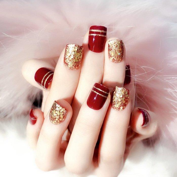穿戴甲美甲片指甲貼片可拆卸全貼假指甲片隨時摘戴的假片美甲成品歐美時尚可愛指甲貼紙  彩繪貼指甲法式指甲貼 持久 美足貼
