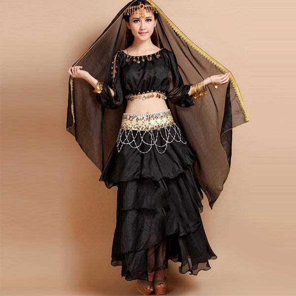 5Cgo【鴿樓】會員有優惠 21645700000印度風上衣單肩金邊蛋糕裙肚皮舞套裝印度服飾印度舞演出服套裝 印度舞裙
