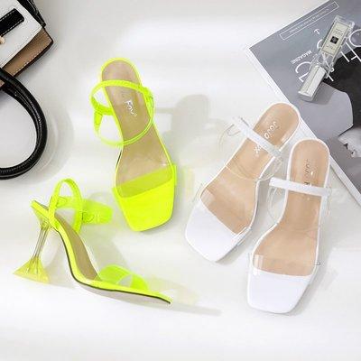 世界購 透明高跟鞋 女新款ins網紅百搭露趾一字帶酒杯跟水晶半拖涼鞋