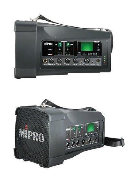 【昌明視聽】Mipro MA-100DB 攜帶式行動擴音喇叭 16選頻USB 鋰電池 UHF 附1手麥+1腰掛器1耳掛麥