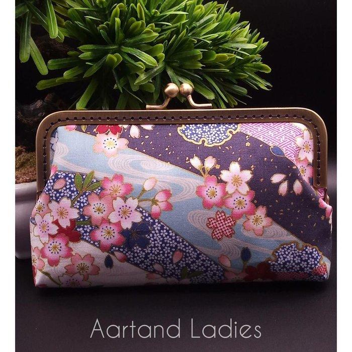 Aartand Ladies-(粉藍)高雅雙面描金手機包手拿包斜背包