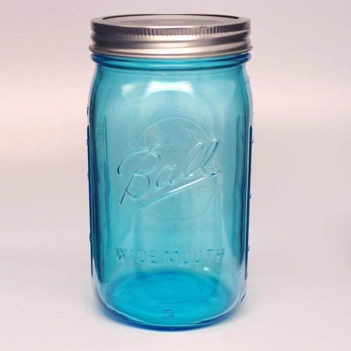 【Sunny Buy 生活館】◎現貨◎ Ball 梅森罐 32oz 藍色寬口罐 收納罐 梅森瓶 Mason 罐子沙拉