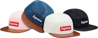 (TORRENT)2015 Supreme Denim Leather Visor Camp Cap 皮革 黑.粉.牛仔
