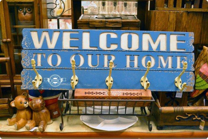 藍色木板刷舊welcome造型五勾掛勾 歡迎光臨標語裝飾壁掛壁飾掛飾牆面布置 衣帽架鑰匙項鍊飾品收納玄關【【歐舍家飾】】