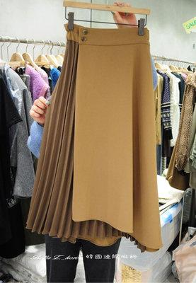 韓國一片式壓折拼接長裙