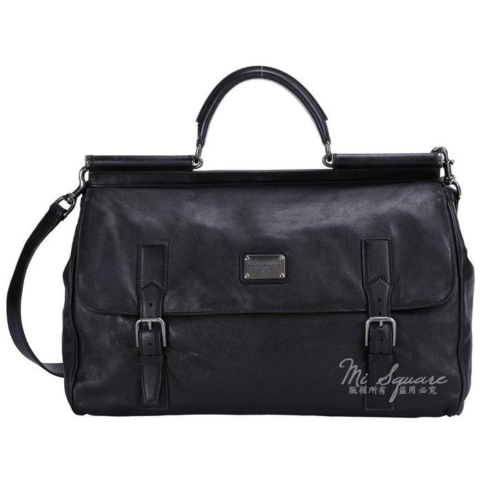 米蘭廣場 DOLCE & GABBANA 皮條釦設計兩用提包(黑色) 1440040-01