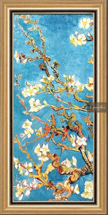 【 LondonEYE 】小法國系列-春日派對X阿爾勒杏花X希望之樹 香檳金框裝飾連貫裝飾畫 三聯畫/豪宅 PT106
