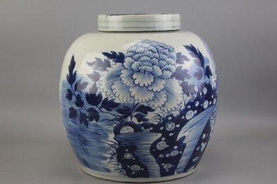 ㊣姥姥的寶藏㊣大清光緒牡丹花紋大號茶葉罐 古玩 民間收藏