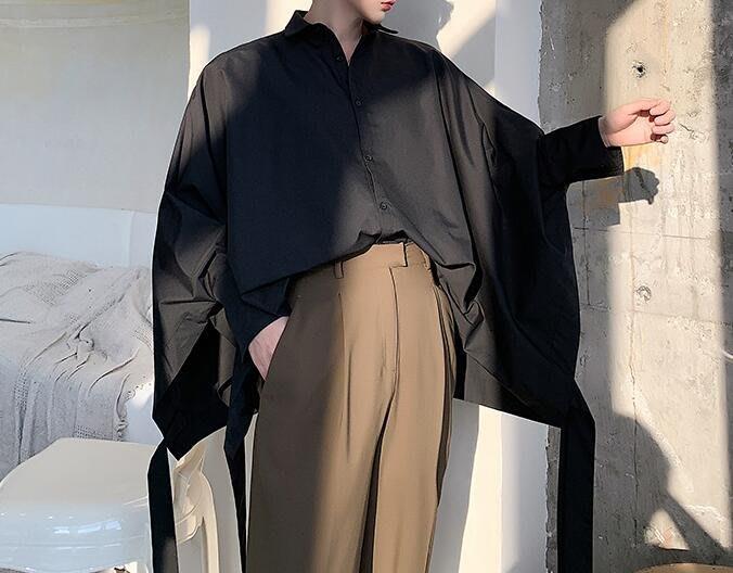 FINDSENSE 品牌 2019 春季 新款 寬鬆  潮流  個性 社會 男青年 蝙蝠 長袖 免燙 襯衫 復古 氣質