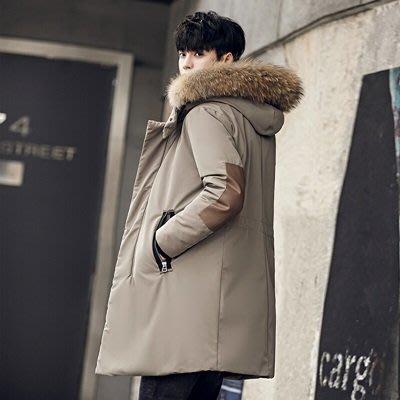羽絨 外套 連帽夾克-純色中長款貉子毛領外套2色73un3[獨家進口][米蘭精品]