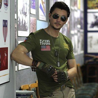 NIP軍迷戶外體能訓練服肌肉男士緊身修身美國飛虎隊戰術短袖T恤