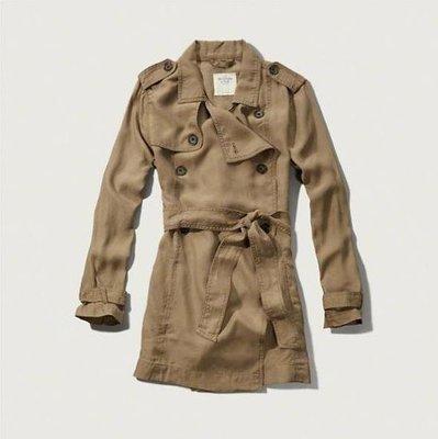 美國Abercrombie & Fitch 女裝DRAPEY TRENCH COAT S號輕質布料型女必敗時尚風衣含運