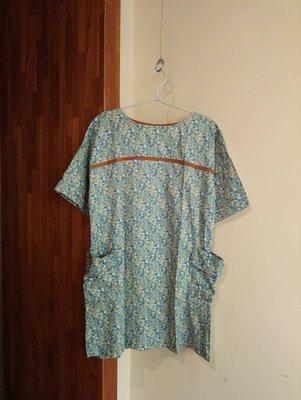 Vert  Dense  ♥日本品牌♥  LIBERTY棉布 小朵花卉滿版 拼接皮革 5分袖洋裝