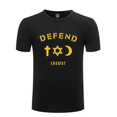 純棉男式短袖T恤 COEXIST 個性創意潮 嘻哈 judoo
