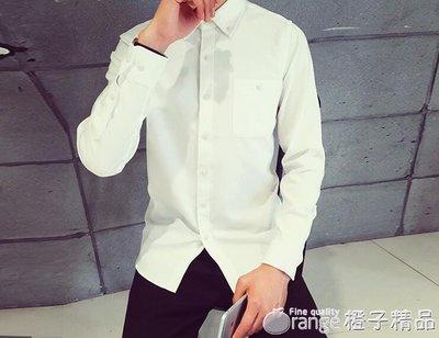 夏季新款牛津紡長袖男士襯衫純色白襯衣青少年時尚打底休閒潮寸衫