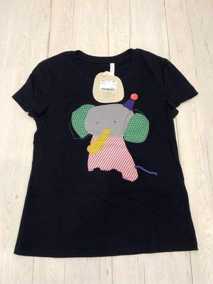 全新 a la sha 深藍色彩色拼布大象棉上衣-SizeS