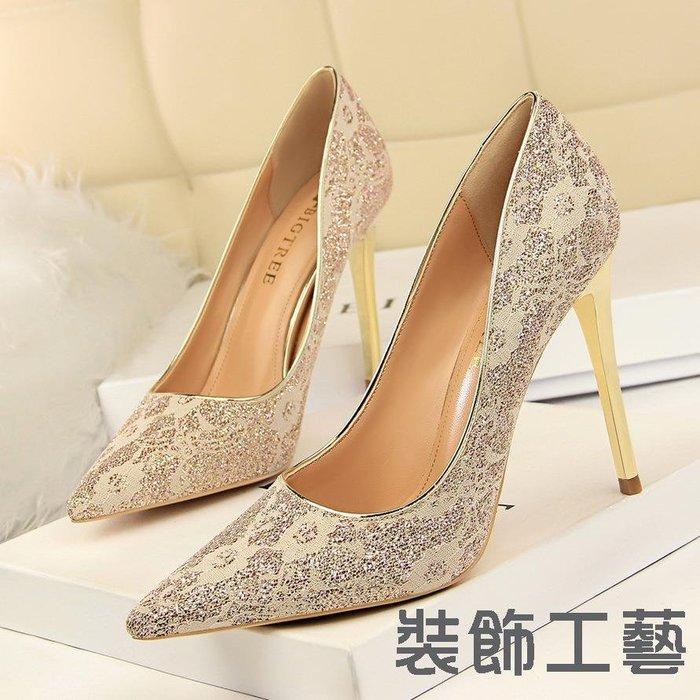 9511-13宴會女鞋高跟鞋性感夜店高跟淺口尖頭蕾絲單鞋婚鞋