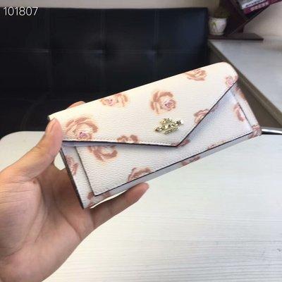風格 COACH 全新正品 32436 32437 玫瑰印花塗層帆布翻蓋錢包 內裡牛皮 多卡位長夾 全場特價 附購買證明