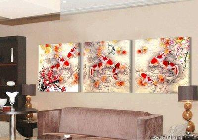 【厚1.2cm】【50*50cm】富貴九魚圖鯉魚無框畫客廳裝飾畫中國風【220110_1444】3聯畫