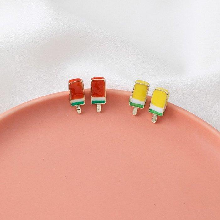 【Elfalas】韓版可愛甜美風 百搭彩色雪糕造型耳環
