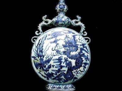 藏雅軒-青花瓷器-龍鳳呈祥雙耳貔貅葫蘆天品瓶