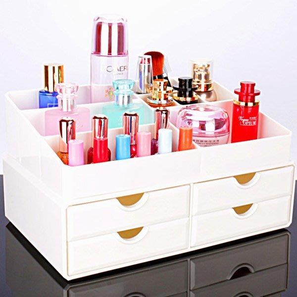 5Cgo【鴿樓】會員有優惠 43840108691 透明抽屜式收納櫃 梳妝台辦公室桌面化妝品收納盒大號 格子 儲物盒