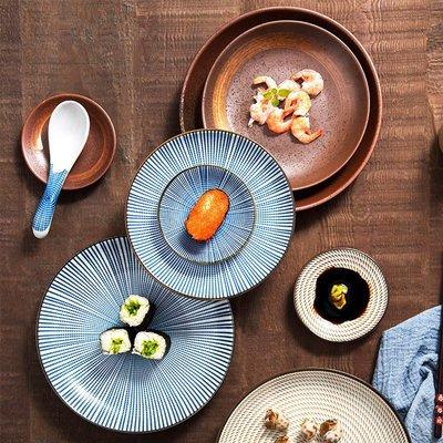 創意日式盤子復古個性餐盤陶瓷餐具點心盤意面盤早餐盤家用菜盤子