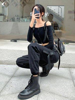黑色工裝褲子女寬鬆顯瘦酷帥氣國潮hiphop休閒束腳褲  -【台北市集】-【台北市集】