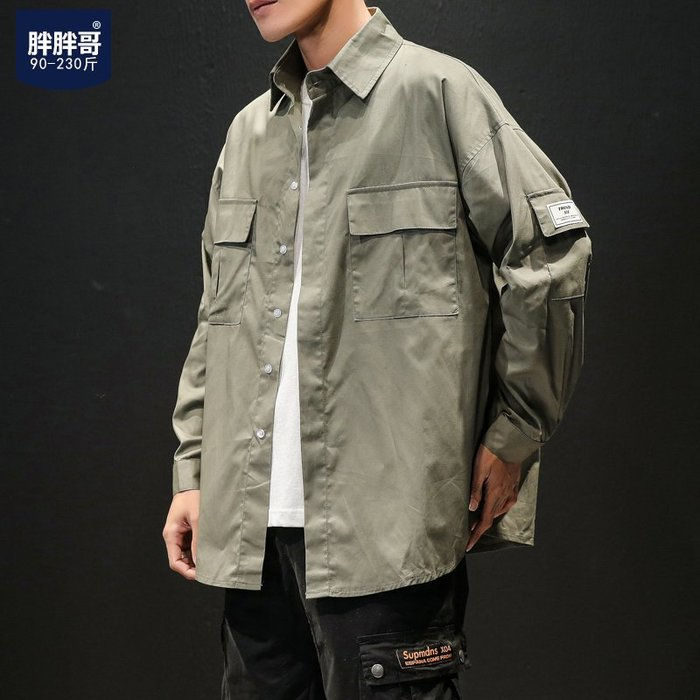 襯衫 夏季新款休閒長袖襯衫男士加肥大碼胖子寬鬆工裝寸衣韓版潮流男裝