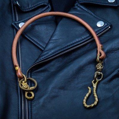 造夢師 手工製作  阿美咔嘰 復古 養牛 純黃銅 扭紋鉤 牛皮皮繩財布鏈 鑰匙鏈 褲鏈 腰鍊