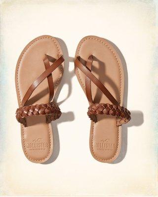 【天普小棧】HOLLISTER HCO Braided Slides編織平底夾腳涼鞋拖鞋6號