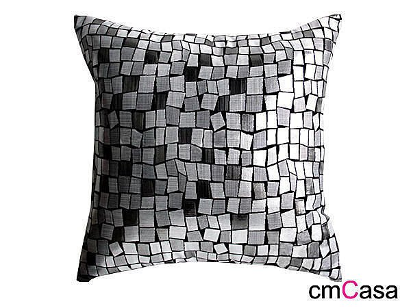 = cmCasa = [1508]後現代立體設計款 銀絲馬賽克抱枕套 Mix and Match 對比發行 銀黑抱枕