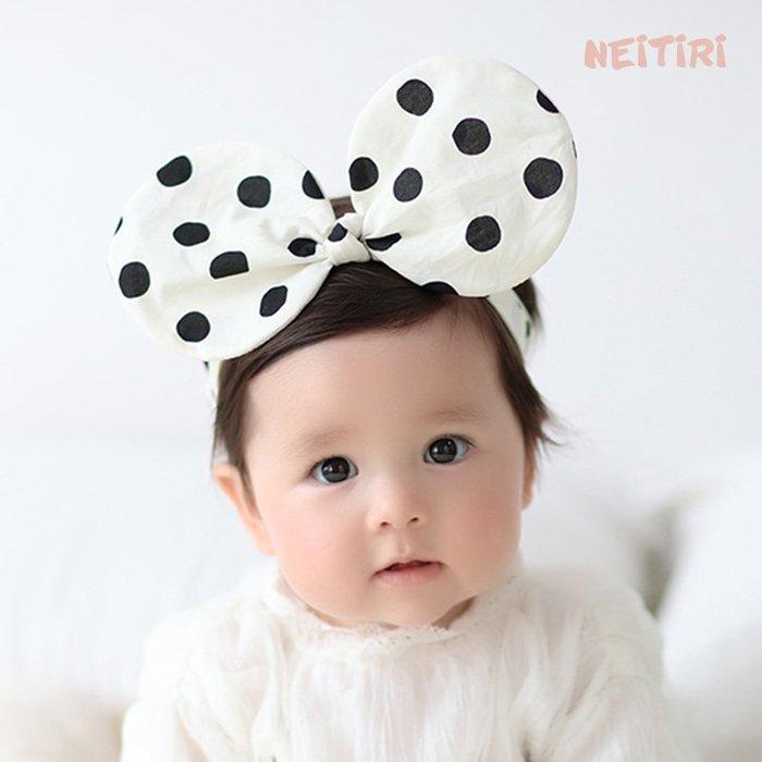 ☆草莓花園☆B53新款兒童髮飾 寶寶嬰兒俏皮波點耳朵髮帶  造型周歲照 藝術照