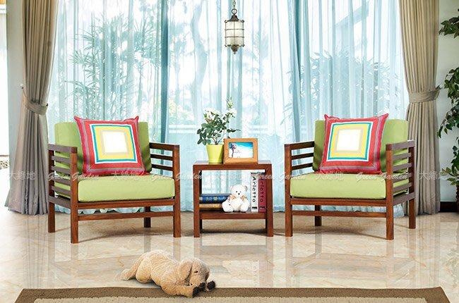 ◎ 大綠地柚木家具 柚木沙發 改款特賣 絕版降價【 巴黎單人沙發 雙椅 組 - 含邊桌 】柚木傢俱 印尼柚木 ◎