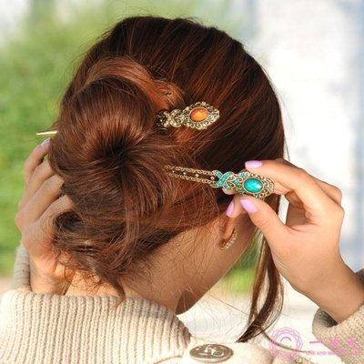 髪簪古典飾品 盤髪插針髪飾古裝古代頭飾韓版簪子髪卡E019
