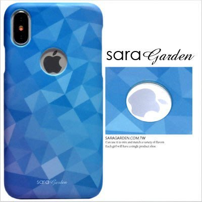 客製化 手機殼 iPhone X 8 7 Plus 硬殼 簍空 三角漸層微醺藍【J0920003】