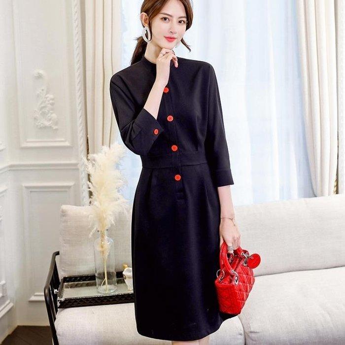 長袖洋裝 正韓修身時尚淑女大碼顯瘦純色女裝休閒連身裙