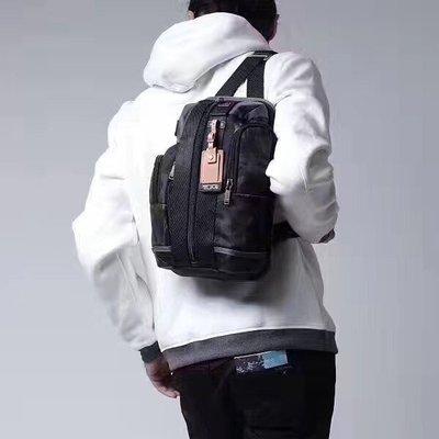 【 全新正貨私家珍藏】Tumi  222318 第二代黑色&藍色帆布胸包 ((新款))底部配皮~